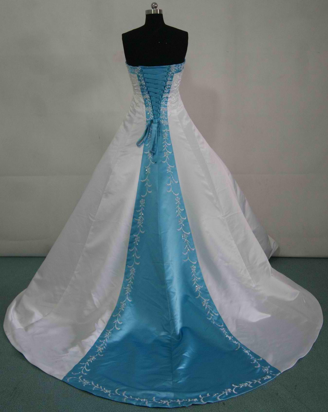 Bridal gowns with color wedding dress blue white and pool blue wedding gown