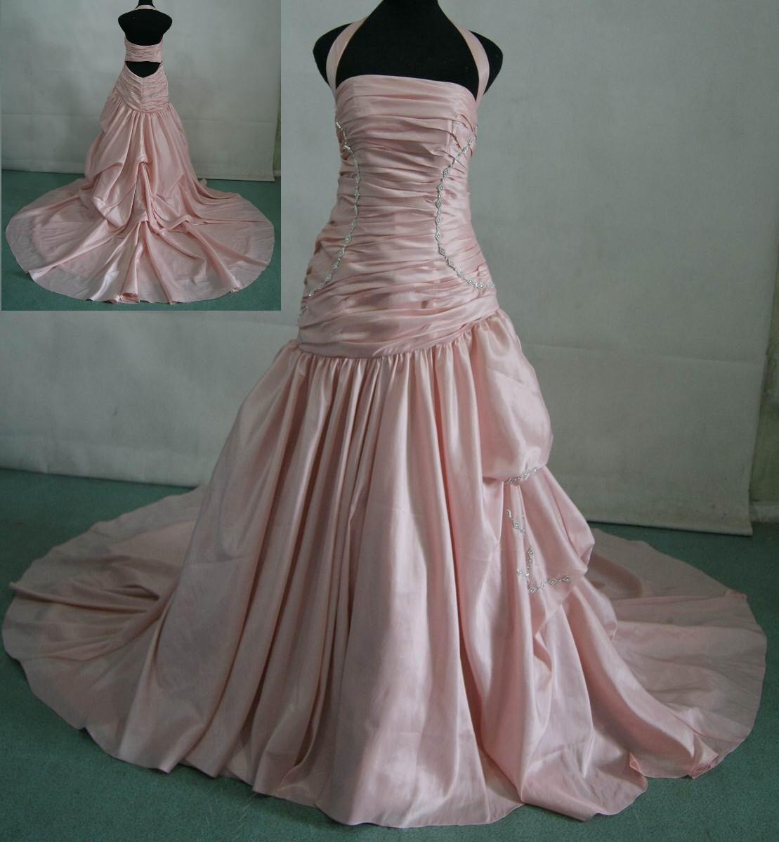 dream wedding dresses light pink wedding dress White sheath halter wedding dress Pink Taffeta Halter Wedding Dress