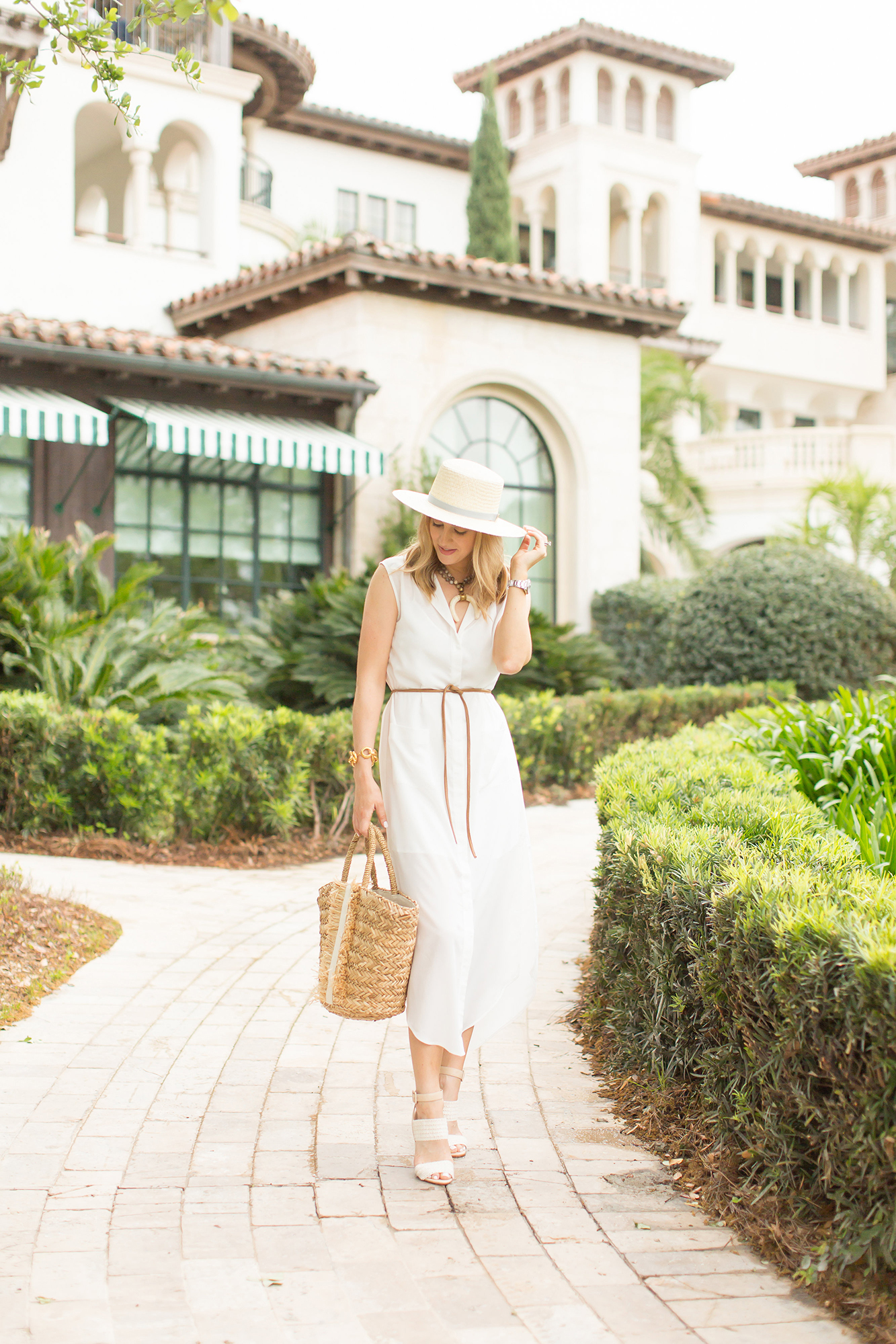 white belted beach dress