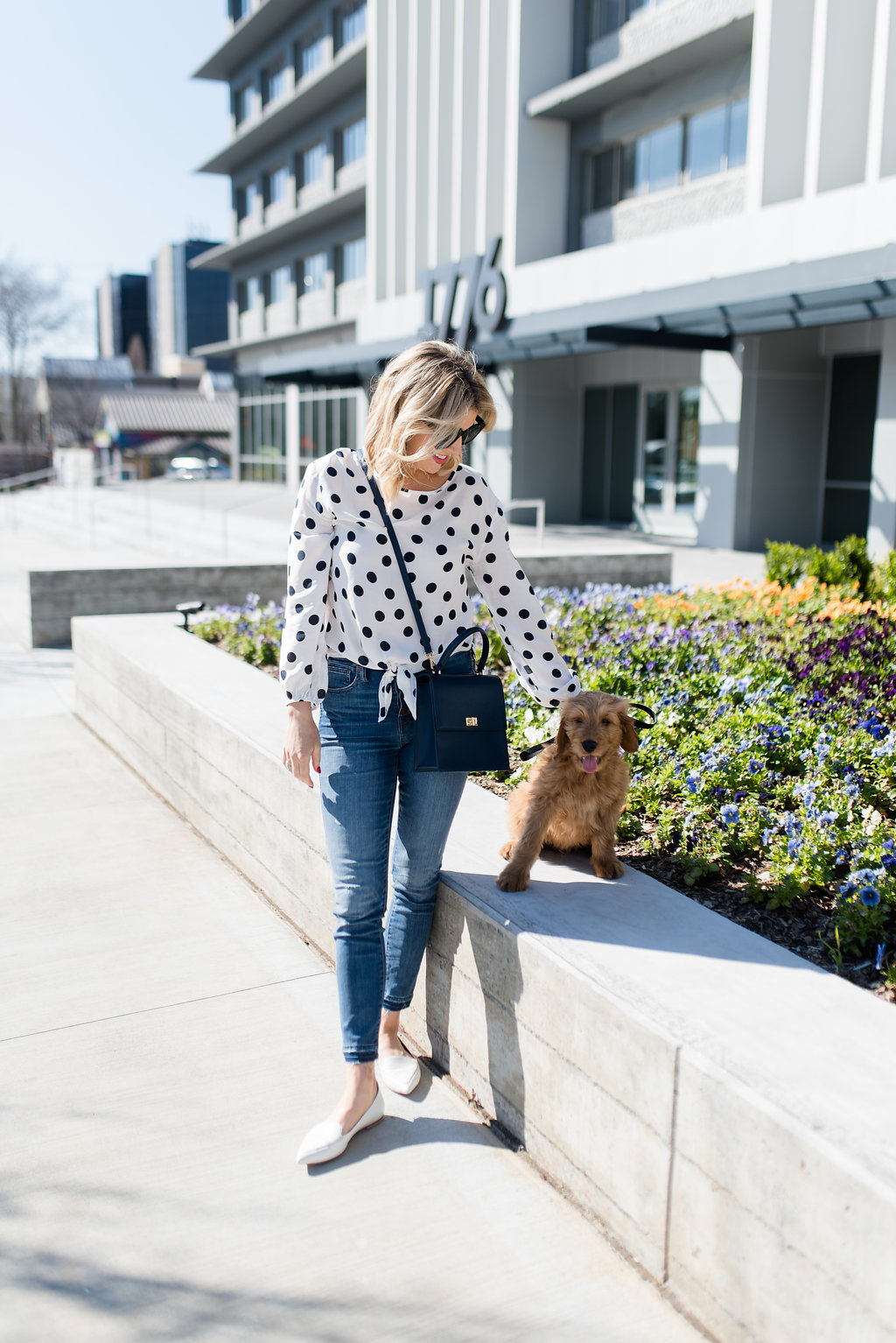 spring outfit polka dot blouse and white flats