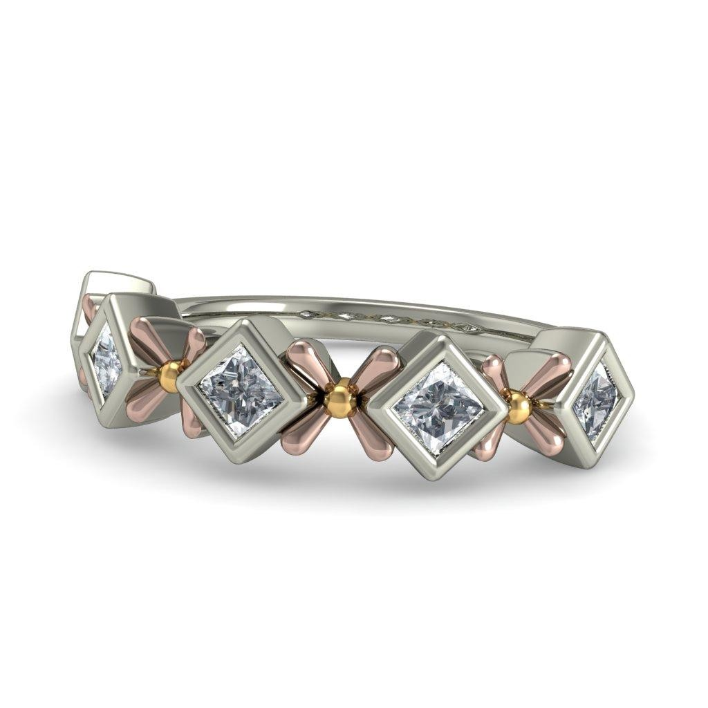 3 stone diamond ring 1 1 2 ct tw princess cut 14k white gold princess cut wedding rings Hover to zoom