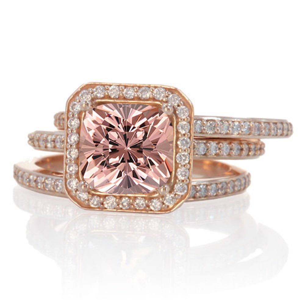 morganite bridal set morganite wedding ring set Real Pink Morganite Ring Set Round Gem Ring Set Diamond Accent Solid 14K White Gold Ring Set Engagement Ring Set Wedding Ring Set Bridal Set