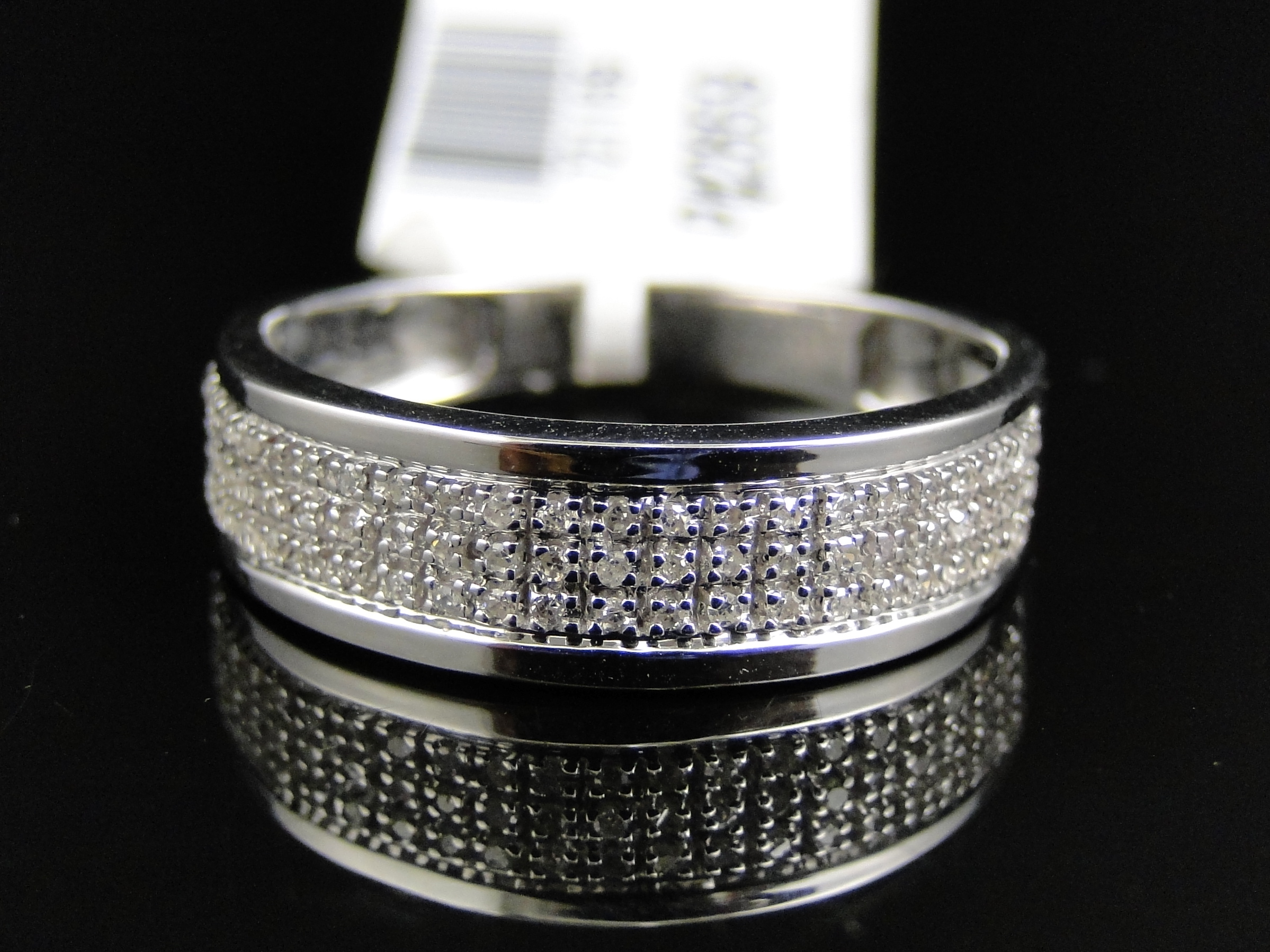 cartier mens wedding band Mens 10k White Gold Diamond Pave 5 MM Wedding Engagement Band Ring 25 Ct