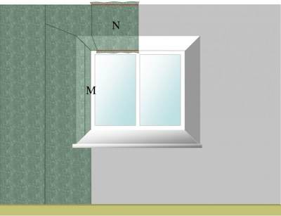 Wallpapering around a window