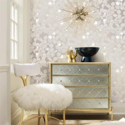 Silver Sparkle Modern Classic Removable Wallpaper | Kathy Kuo Home