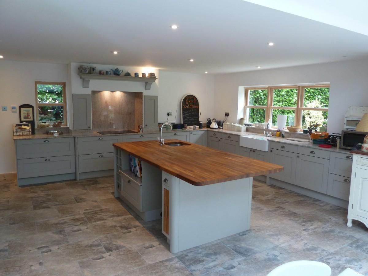 mornington shaker kitchen fitted stevenage hertfordshire shaker kitchen island Shaker Kitchen with Quartz and Solid Oak Island worktop