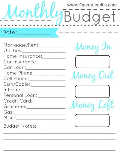 20 Free Printable Monthly Budget Planners | Kitty Baby Love