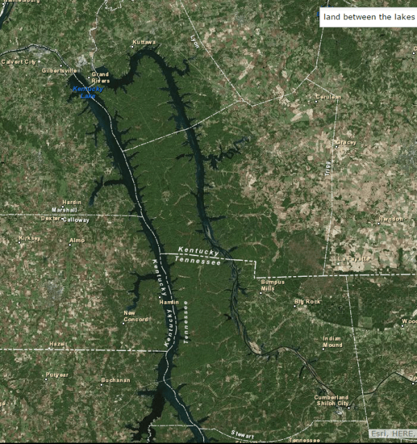 Satellite view LBL   Land Between the Lakes Satellite view of Land Between The Lakes on November 13  2015 shows the  forested areas