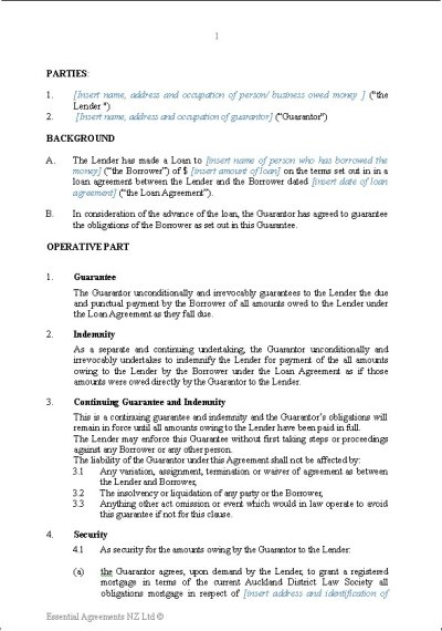 Personal Guarantee Letter Sample - personal guarantee loan document quick title loans in north ...