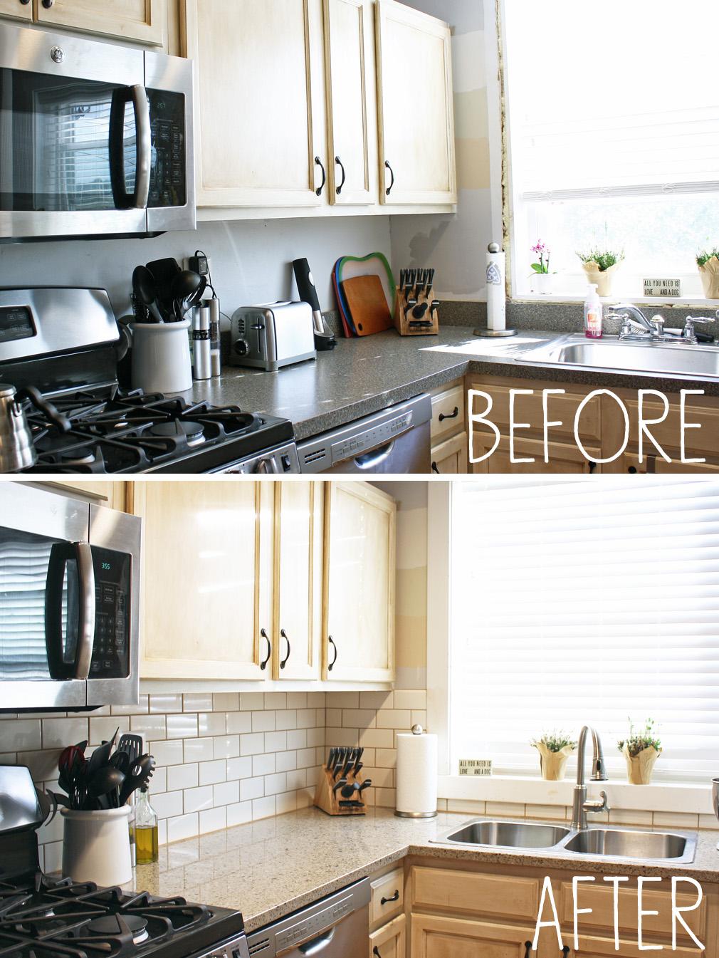 our new kitchen countertops and backsplash kitchen counters and backsplash Before and After Kitchen Backsplash 3
