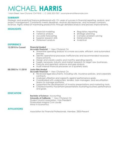 Accounting & Finance Resume Examples | Accounting & Finance Sample Resumes | LiveCareer