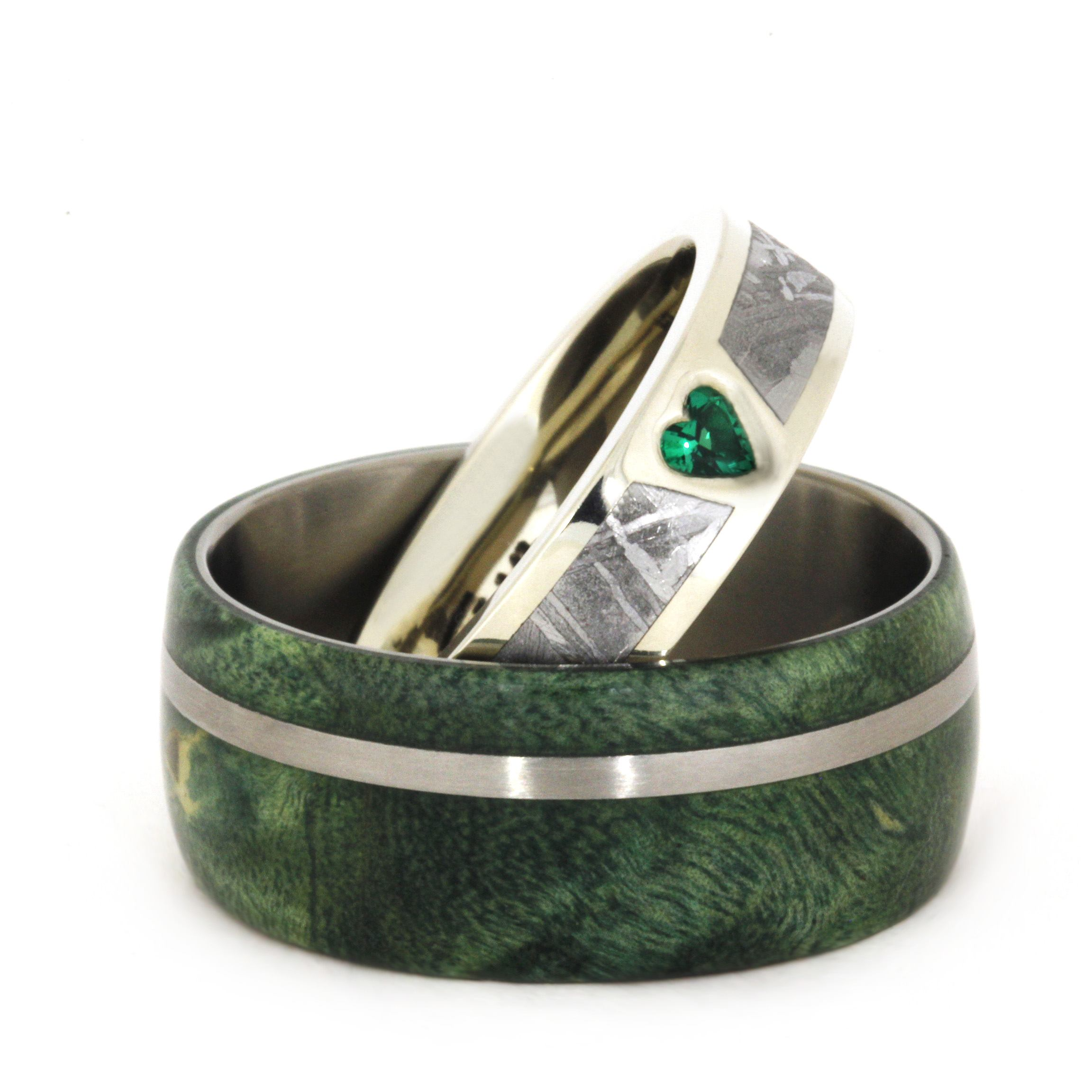 his hers handmade wedding bands green mens wedding bands Lab Created Emerald Gibeon Meteorite 14k White Gold Ring Men s Green Box Elder