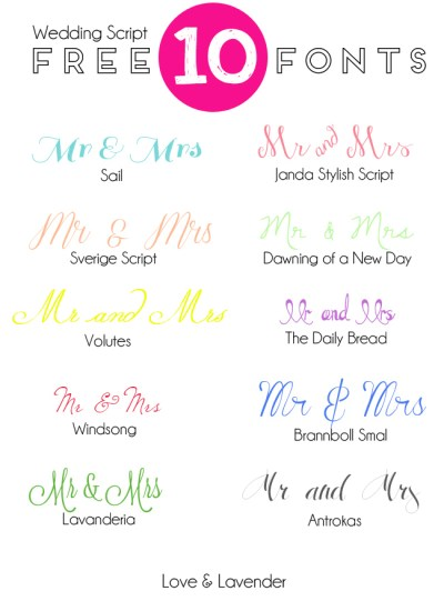 10 Free Fonts for your Wedding Invitation