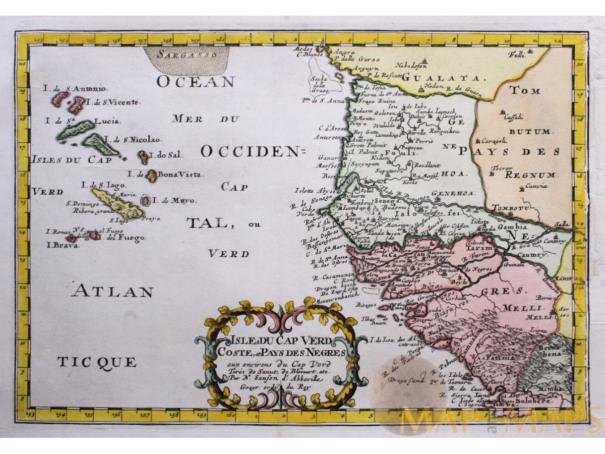 Isles du Cape Verd Coste et Pays des Negres AFRICA     CAPE VERDE ISLANDS   OLD MAP     CHART SANSON MERCATOR 1683 1734