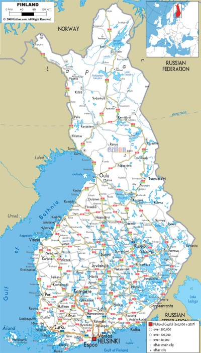 Maps of Finland   Detailed map of Finland in English   Travel map of Finland   Road map of ...