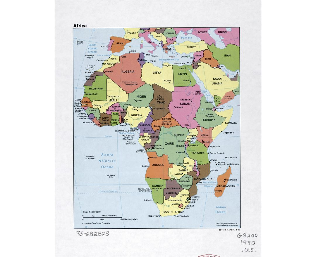 Maps of Africa and African countries   Political maps  Road and     Large detailed political map of Africa with marks of capital cities  major  cities and names