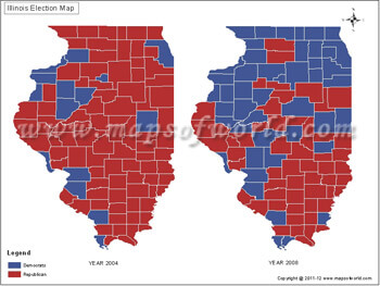 US Election Maps Illinois Election Results Map 2004 Vs 2008