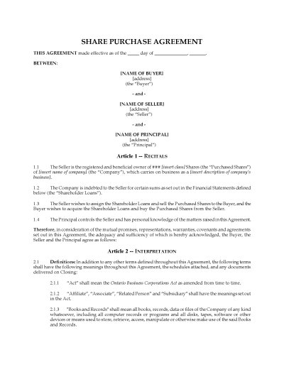 Ontario Share Purchase Agreement & Assignment of Shareholder Loans   Legal Forms and Business ...