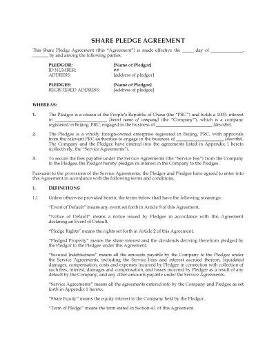 China Share Pledge Agreement | Legal Forms and Business Templates | MegaDox.com
