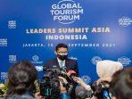 Menpar Ekraf Sandiaga Uno Saat Konferensi Pers