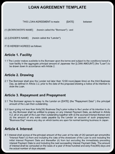 Sample Loan Agreement Template Word   MS Office Templates