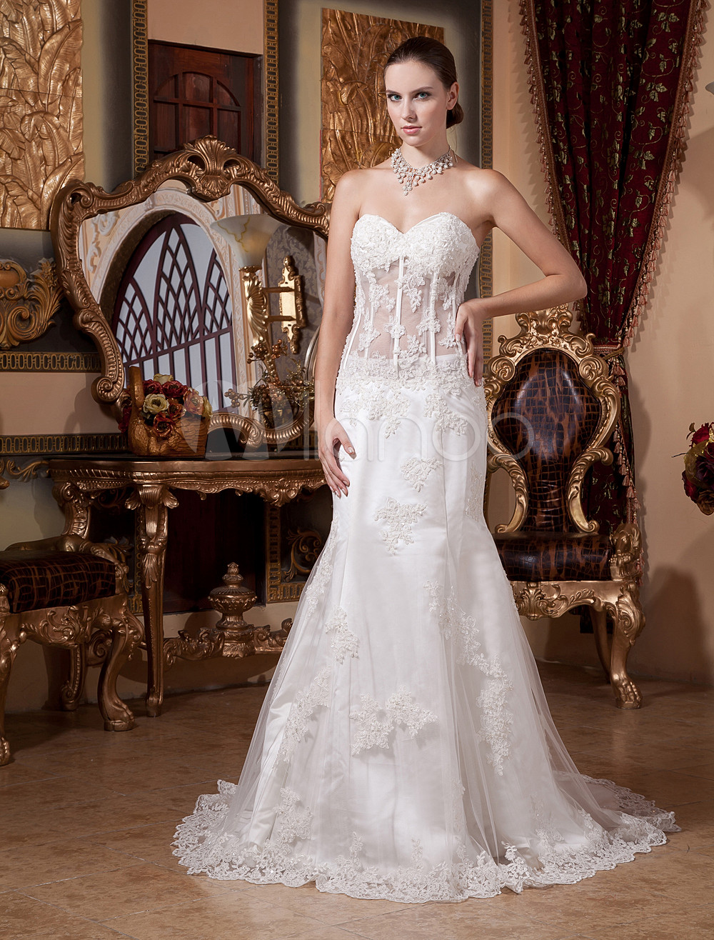 sheer lace overlay wedding dress sheer lace wedding dress Sheer Shoulder Satin Wedding Dress With Lace Overlay