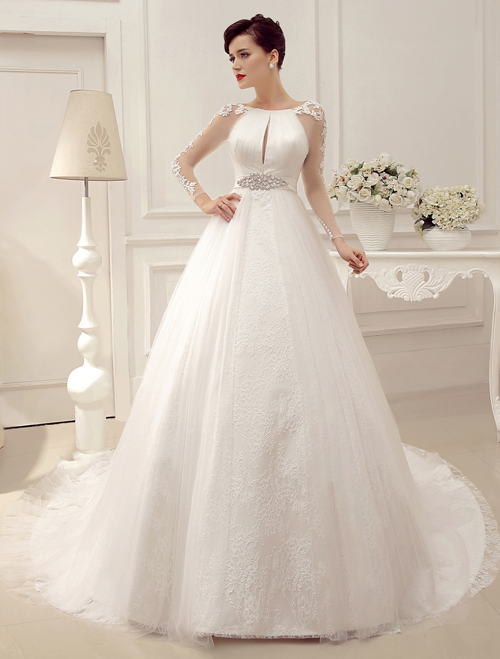 chapel train ball gown wedding dress with lace sleeve milanoo p train wedding dress Chapel Train Ball Gown Wedding Dress with Lace Sleeve Milanoo Milanoo com