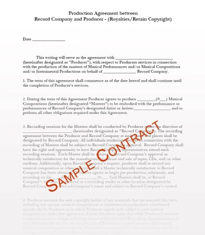 Music Contracts, Music Contract Templates - Music Manager, Production, Publishing Contract ...