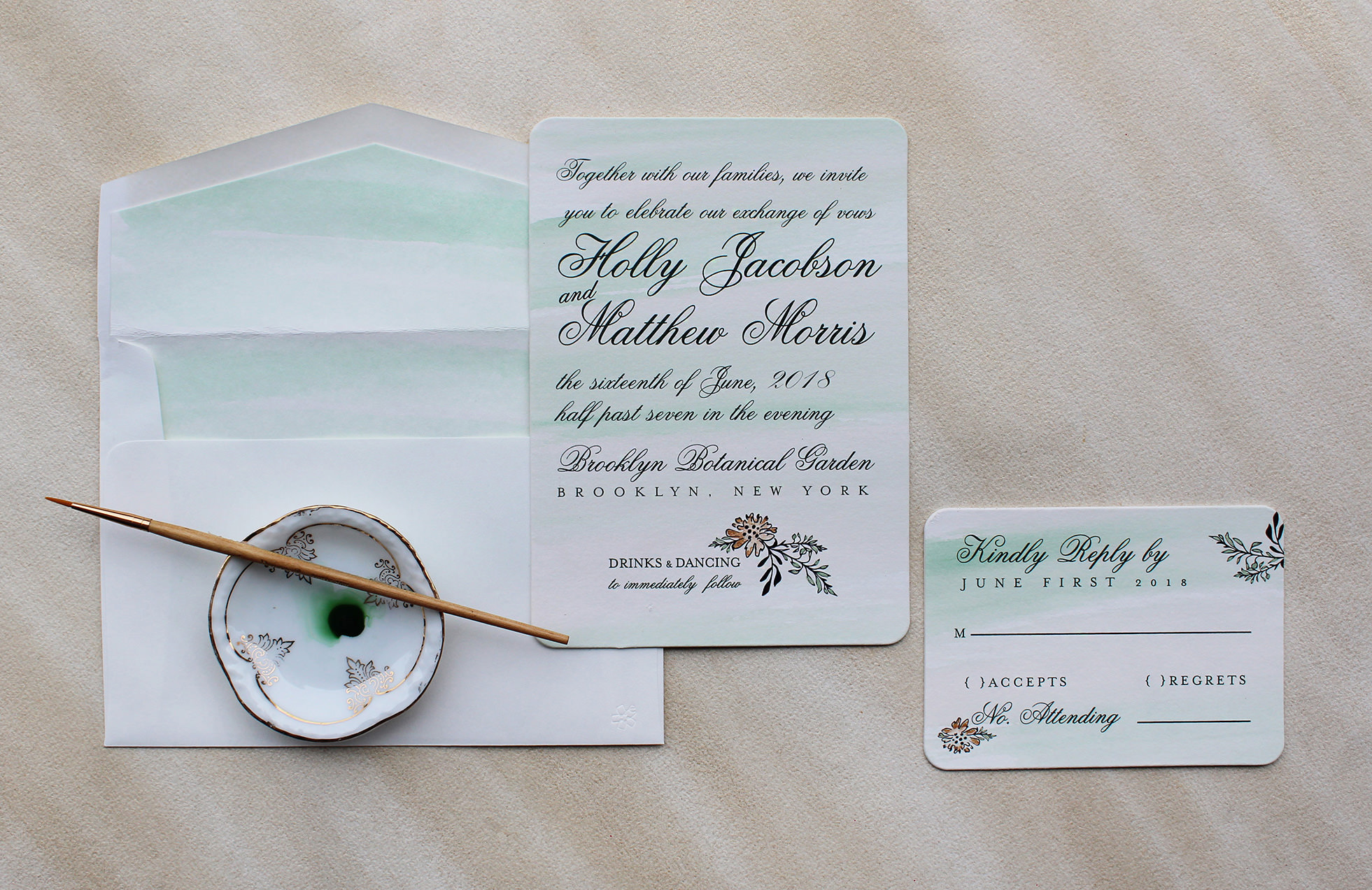 botanical collection watercolor wedding invitations Pin It Soft Green Watercolor Wedding Invitations