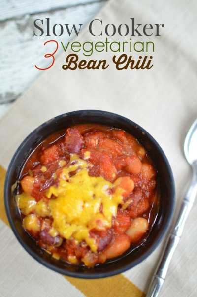 Slow Cooker Vegetarian Three-Bean Chili Recipe