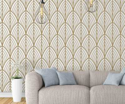 Art Deco Leaves Removable Wallpaper - Moonwallstickers.com