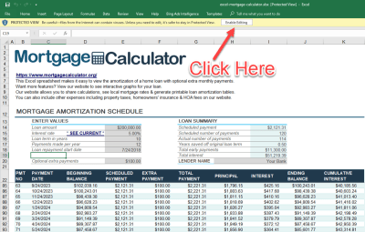 Download Microsoft Excel Mortgage Calculator Spreadsheet: XLSX Excel Loan Amortization Schedule ...