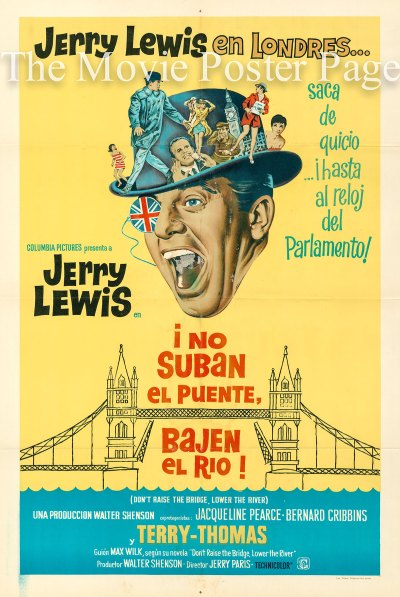 Don't Raise the Bridge Lower the River (1968) - (Jerry Lewis) Argentine one-sheet, F, NM $25