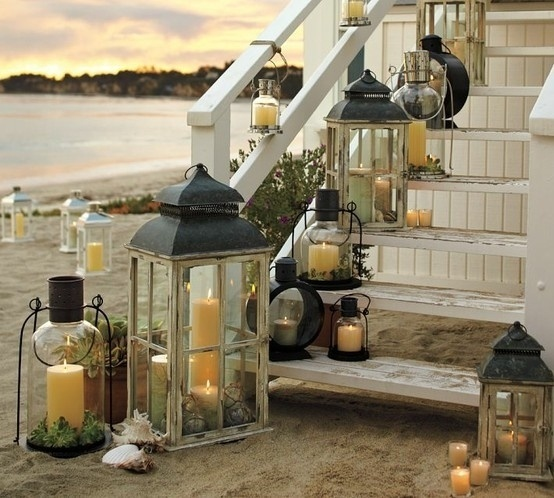 Beach Decorating with Lanterns   Create a cozy atmoshphere   Beach Decor Beach Lanterns on Stairs