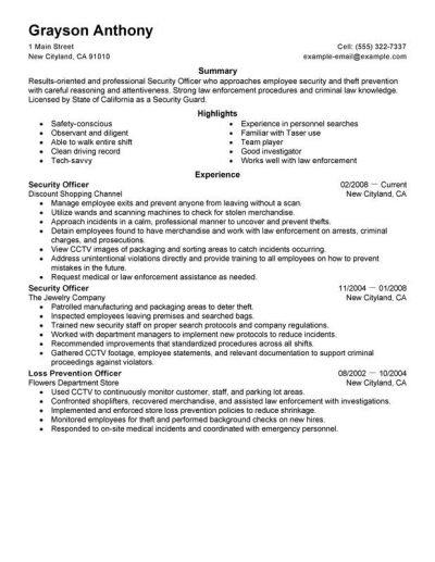 Security Officers Resume Examples – Free to Try Today | MyPerfectResume
