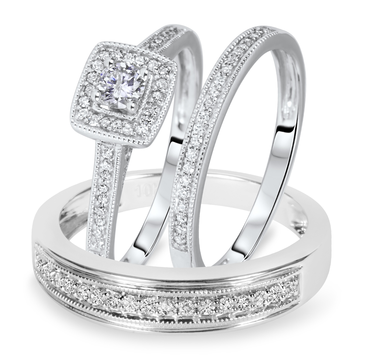 wedding ring sets wedding ring sets cheap Bling Jewelry Sterling Channel Set Princess CZ Engagement Wedding Ring Set