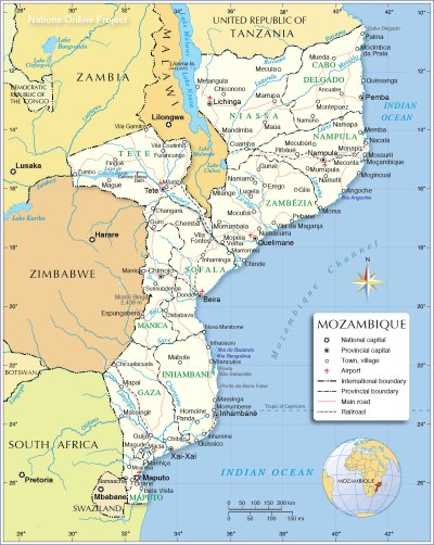Political Map of Mozambique - Nations Online Project