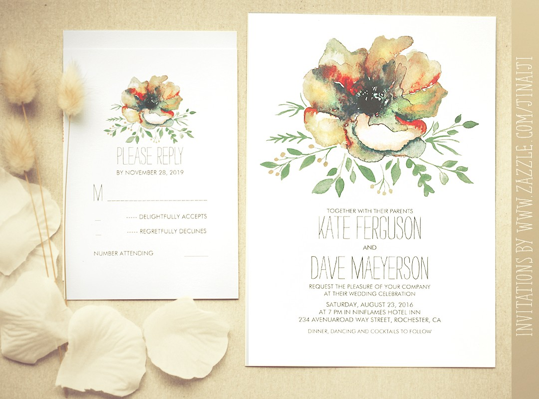 wreath wedding invitation with watercolor flowers watercolor wedding invitations Colorful Watercolor Flower Wedding Invitation