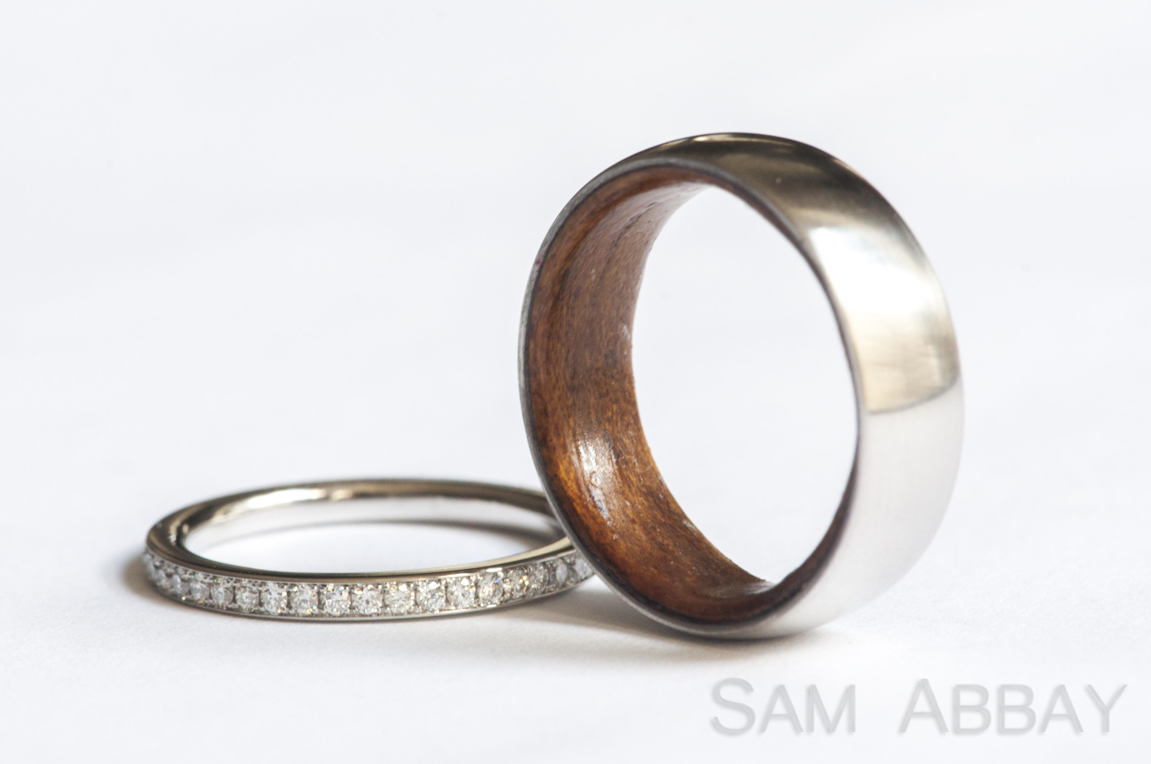 rings with liners wood wedding bands This unusual customer wanted a wood wedding ring Since wood rings are usually not durable enough to last as wedding rings we created a platinum ring with