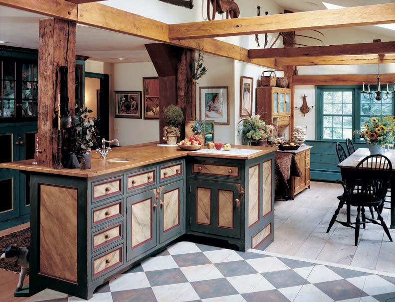 a painted checkerboard floor delineates the kitchen in this 18th century farmhouse photo rob gray