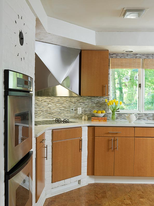 best flooring choices old house kitchens cork kitchen flooring A cork floor warms up the cool tones of a Mid century Modern kitchen