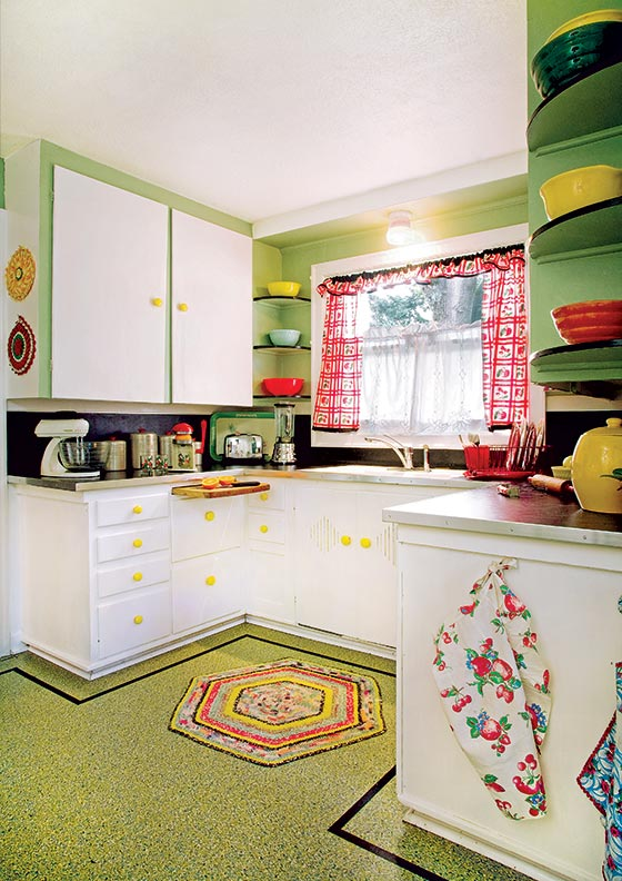 best flooring choices old house kitchens linoleum kitchen flooring A linoleum floor with a confetti pattern and a simple border is a cheerful complement to