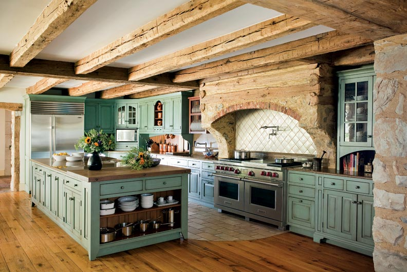 primitive colonial inspired kitchen colonial kitchen sink The cabinets are finished in a distressed milk paint