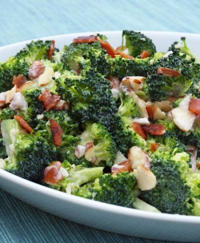 Creamy Broccoli Salad with Bacon, Cheddar & Almonds