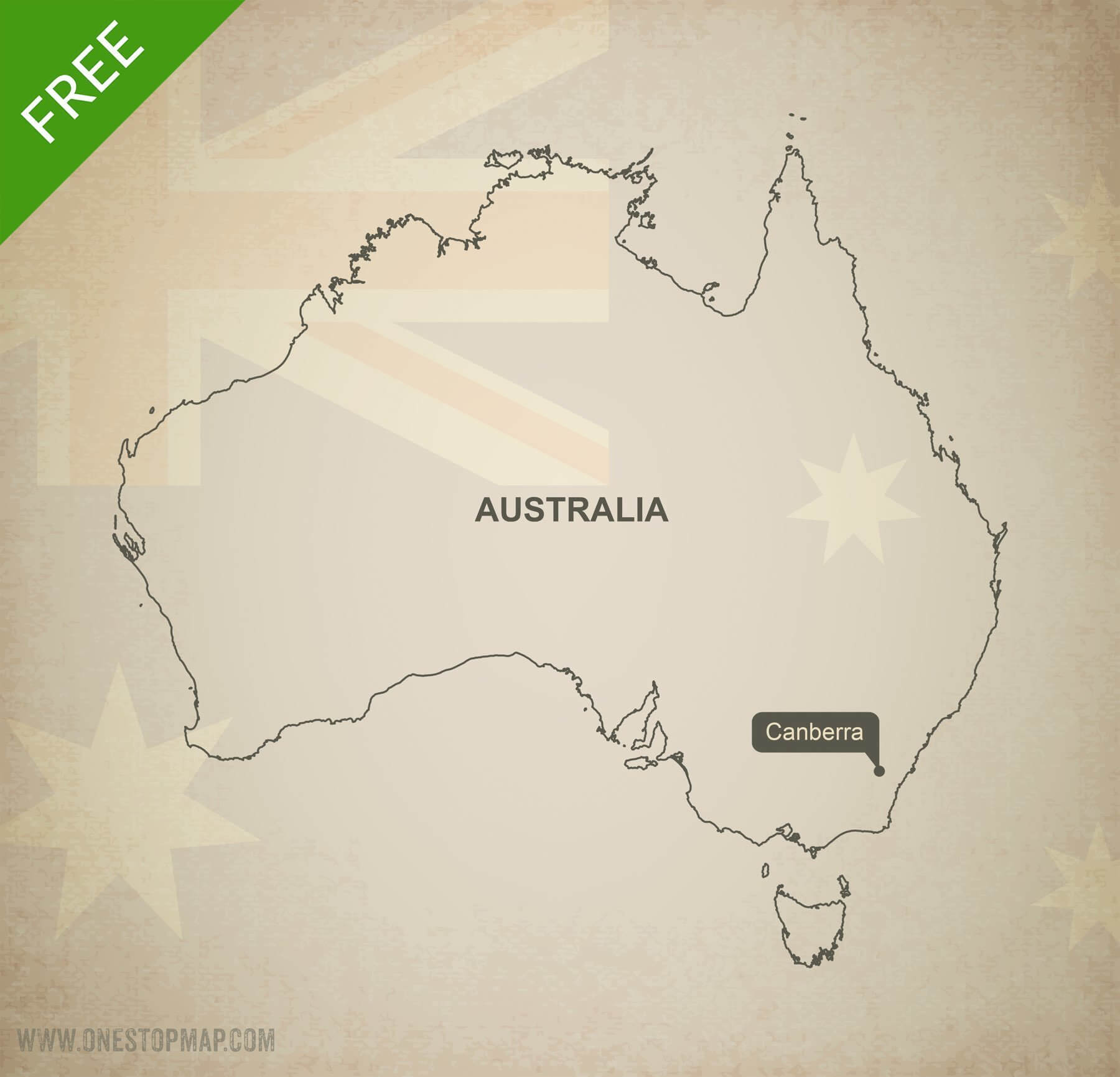 Free Vector Map of Australia Outline   One Stop Map Map of Australia outline