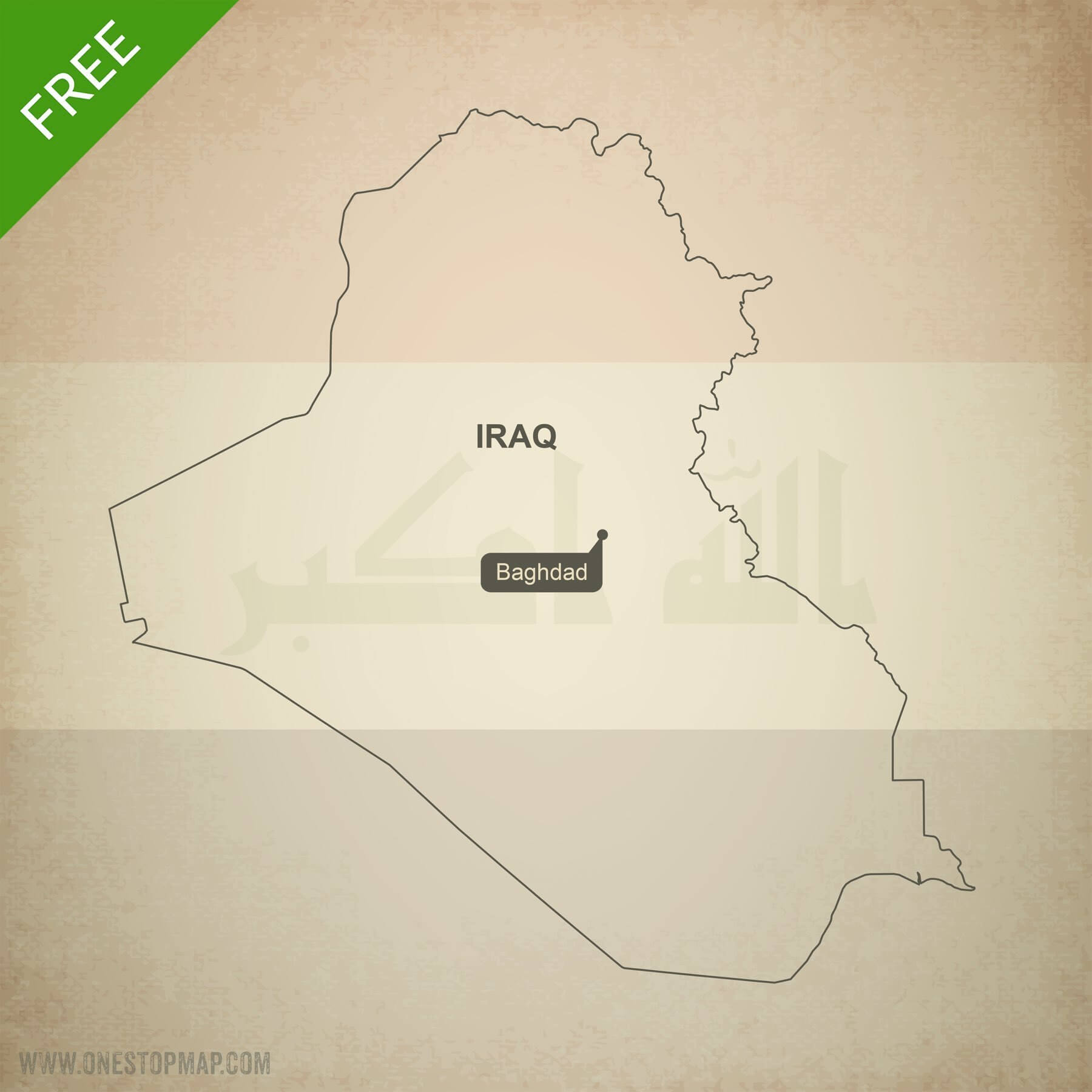 Free Vector Map of Iraq Outline   One Stop Map Map of Iraq outline