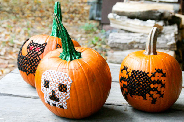 15 Awesome No Carve Pumpkins   ParentMap Halloween no carve embroidered pumpkins by Blog a la Cart