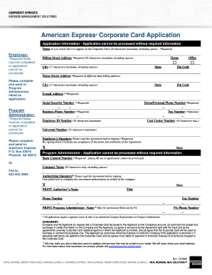 Express Corporate Card Application - Fill Online, Printable, Fillable, Blank | PDFfiller
