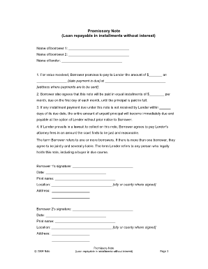 14 Printable fillable pdf promissory note Forms and Templates - Fillable Samples in PDF, Word to ...