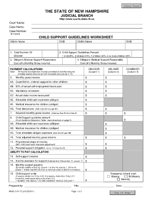 Fillable Online nhlegalaid Child Support Guidelines Worksheet - Florida State Courts ...